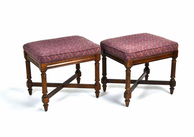 Pair Fine Quality Vintage Federal Style Mahogany Ottomans Stools by Gordon's by PrairielandArt