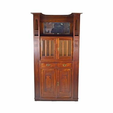 Antique German Jugendstil Mahogany Sideboard Bar Server Liquor Cabinet by PrairielandArt