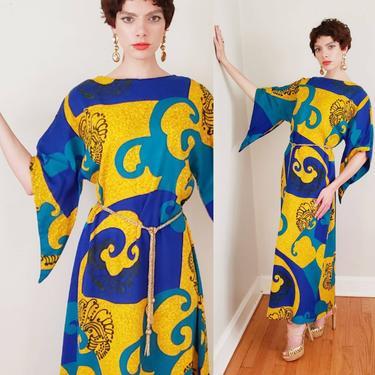 1960s Caftan Dress Blue Yellow Psychedelic Print / 60s Maxi Dress Lounger Tiki Party Kamehameha Hawaii Vacation Resort / Medium by RareJuleVintage