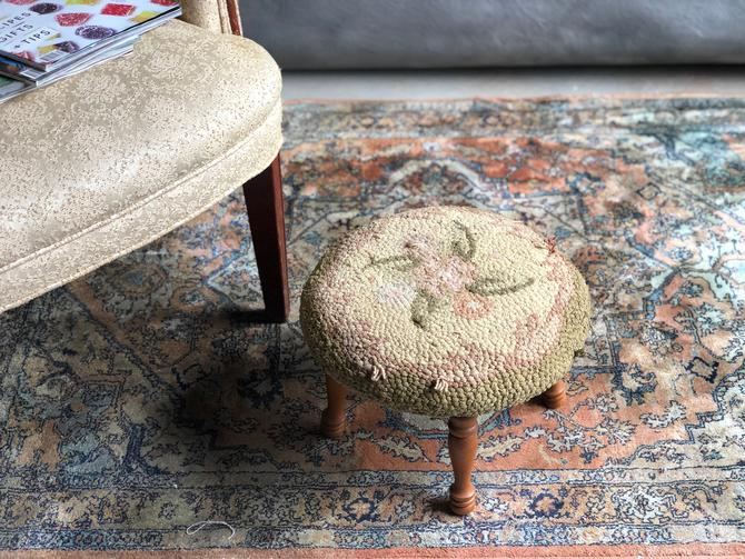 Vintage Pink Floral Hooked Footstool, Hooked Stool by Northforkvintageshop