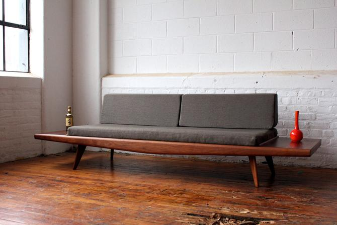 Restored Mid Century Modern Walnut Sofa with Customized Walnut Endtables by NijiFurnishing