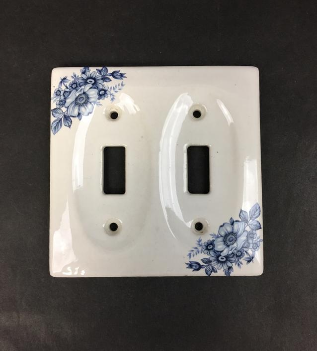 Blue and White Porcelain Double Switch Plate Cover