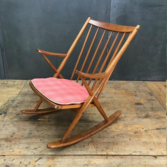 1960s Vintage Mid-Century Danish Teak Rocking Chair Armchair Rocker by BrainWashington
