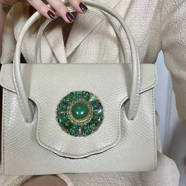 1950s Creamy White Snake Skin Leather Green Jeweled Box Purse