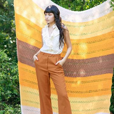 70s Caramel Light Brown Wool Trousers Vintage High Waisted Autumn Pants by AppleBranchesVintage