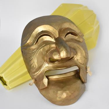 Korean Wood Mask Two Part Hinged Theater | Asian Mask Wall Hanging | Hahoetal Mask | Twine Lashed Movable Mouth Mask | Gold Paint by LostandFoundHandwrks