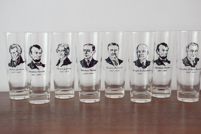 Set of 8 Vintage Presidential High Ball Glasses by CapitolVintageCharm
