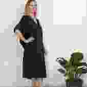 Kathleen Caftan Dress - Black Poplin