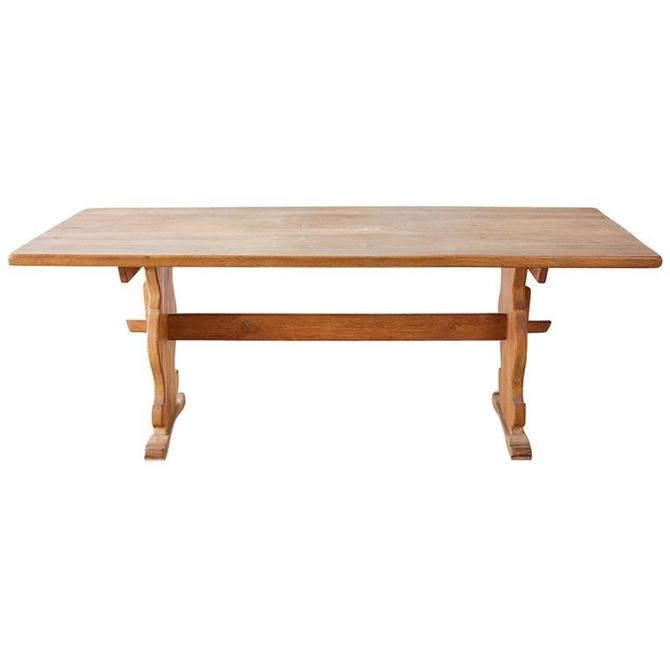 Italian Oak Baroque Style Country Trestle Dining Table by ErinLaneEstate