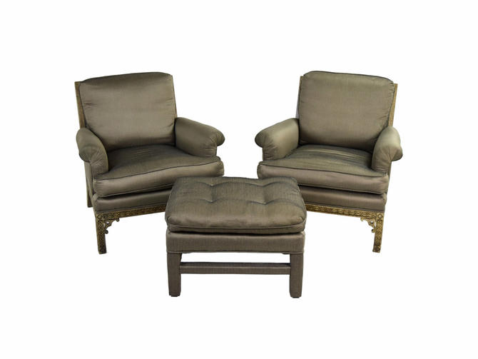 Pair Vintage Erwin Lambeth Upholstered Lounge Chairs with Matching Ottoman by PrairielandArt