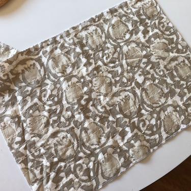 Tan Batik quilted India Sari Placemat set of 4 by MadModWorldVintage