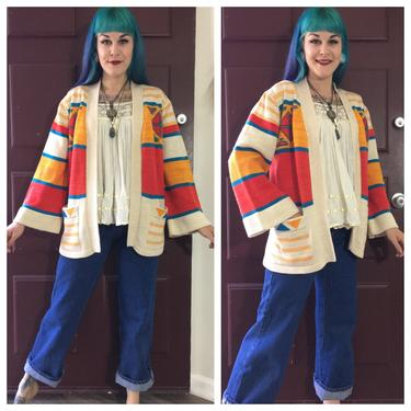 Vintage 1970's Space Dyed Cardigan in Yellow and Red by SurrealistVintage