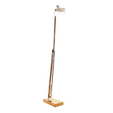 Mid-Century Modern Adjustable Head + Arm Brass Floor Lamp