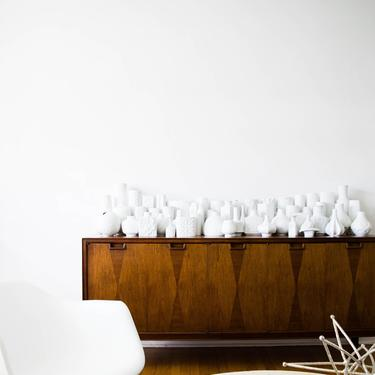 Mid Century Glazed White Porcelain Handled Pitcher Vase // Hutschenreuther West Germany by GlitteryMoonVintage