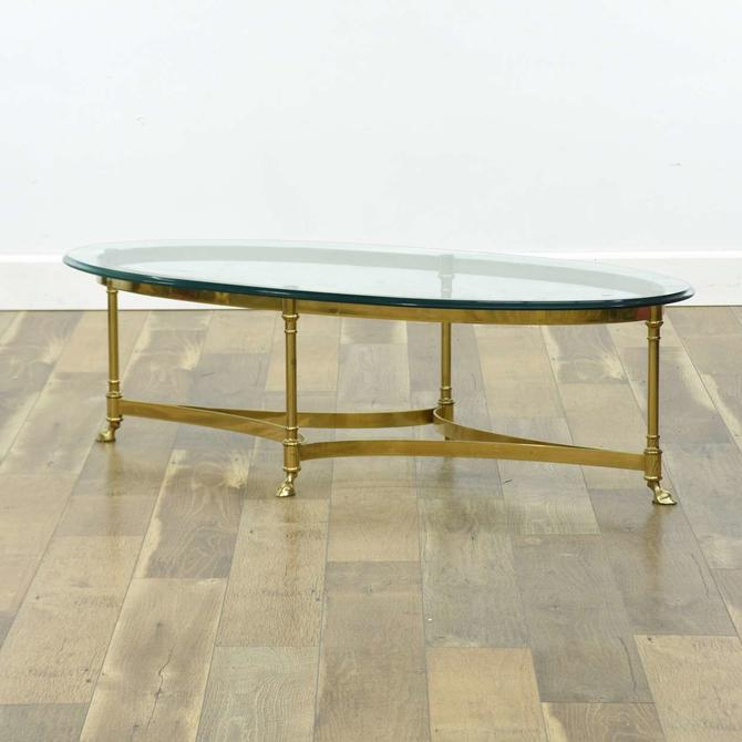 La Barge Style Hoof Brass Coffee Table W Beveled Glass