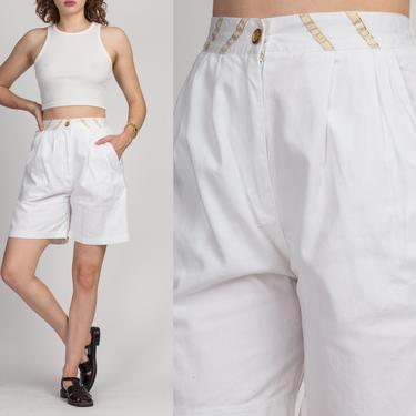 90s High Waist White Shorts - Medium | Vintage Gold Trim Casual Pleated Wide Leg Mom Shorts by FlyingAppleVintage