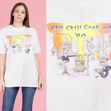 90s Chili Cook Off Graphic Tee - Extra Large | Vintage White Neon Desert Cowboy T Shirt by FlyingAppleVintage