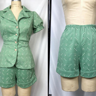 Vintage 1970s Turquoise Green Puff Sleeve Blouse and Shorts Set, 70s Boho Hippie, Vintage Everyday Set, Size Small by MobyDickVintage