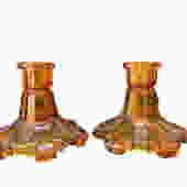 Orange Glass Candle Sticks