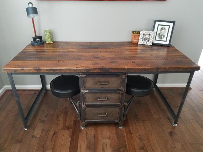 Vintage Industrial Reclaimed Wood Desk with Drawers and Swing Arm Seats. Reclaimed Wood Desk with Storage. Industrial Office Furniture. by BarnWoodFurniture
