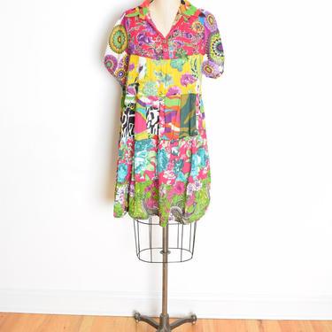 vintage 90s dress patchwork floral print colorful babydoll cotton gauze mini dress XL by huncamuncavintage