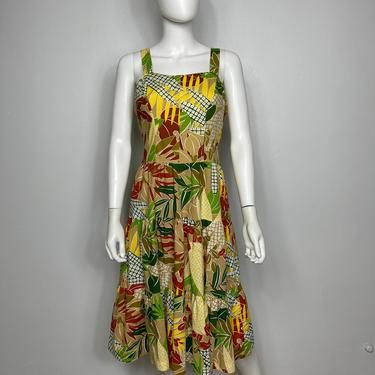 Vtg 60s tropical floral Hawaiian strappy dress SM by AnimalVintageMiami