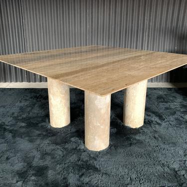 Monumental Travertine Dining Table, after Mario Bellini by HermansSteelGarage