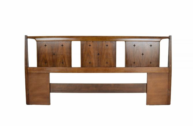 Broyhill Saga Headboard Walnut King Bed Mid Century Modern by HearthsideHome