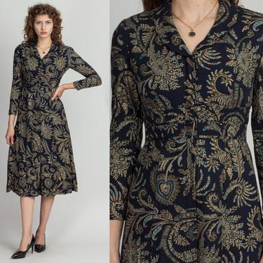 90s Paisley Midi Shirtdress - Petite Small   Vintage Navy Blue Collared Long Sleeve Button Up Secretary Dress by FlyingAppleVintage