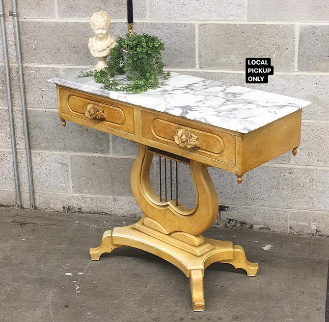 LOCAL PICKUP ONLY ———— Vintage Marble Lyre Table by RetrospectVintage215
