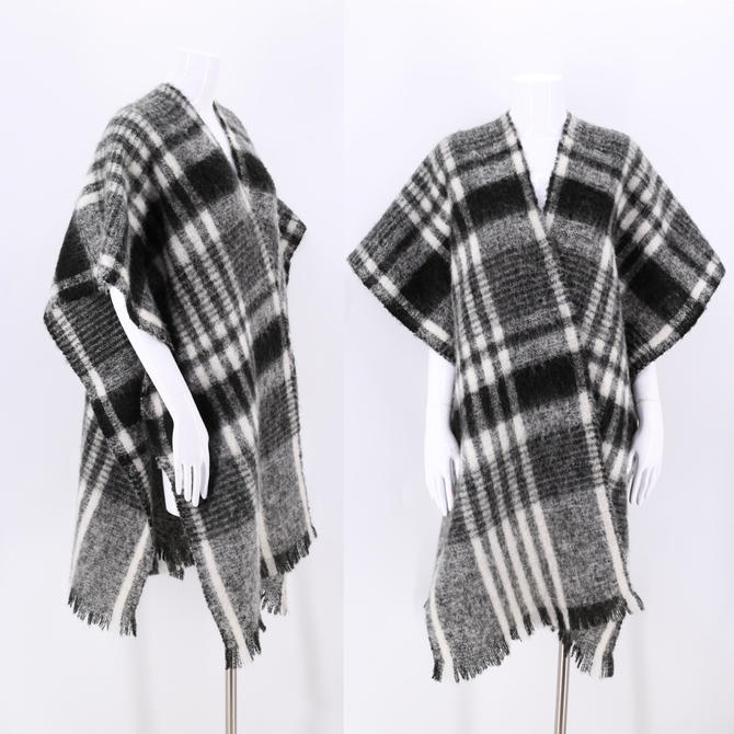 80s Plaid Mohair wrap shawl  / vintage 1980s black white wool winter scarf shawl by ritualvintage