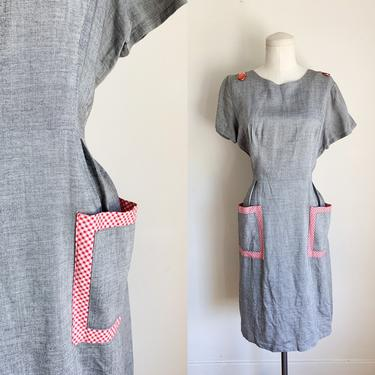 Vintage 1950s Chambray Gray and Gingham Day Dress / M by MsTips