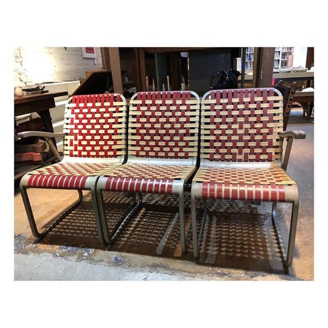 """1950's woven bench. 60"""" w."""