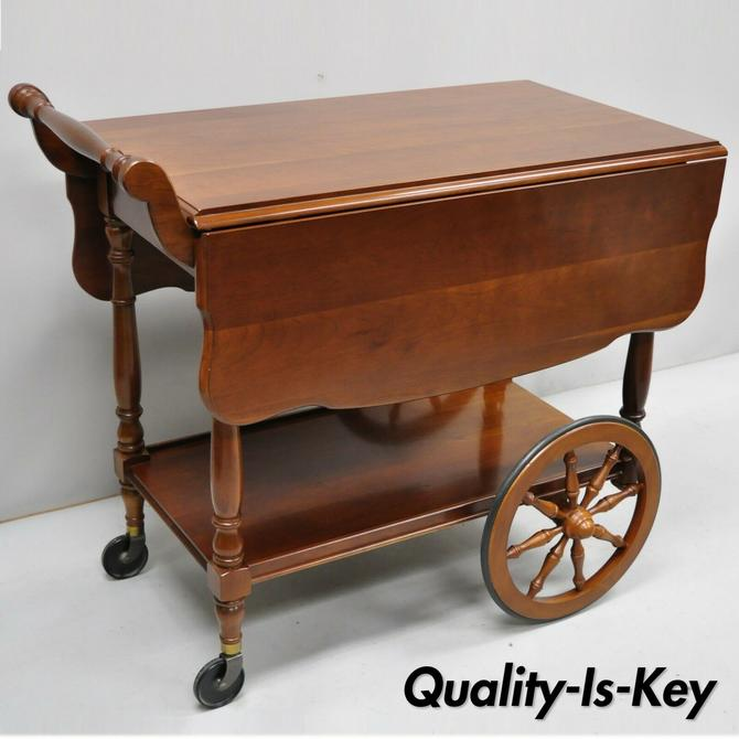Vintage Solid Cherry Wood Colonial Style Rolling Bar Tea Cart Server by Monitor