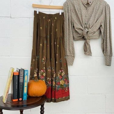 Brown Floral Maxi Skirt