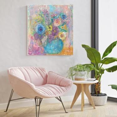 Wild Flowers Bright Canvas Print ~ Bohemian Floral Canvas Art - Mix Media Art ~ Bohemian Décor - Whimsical Flowers ~ Floral Art by DareToBeVintage