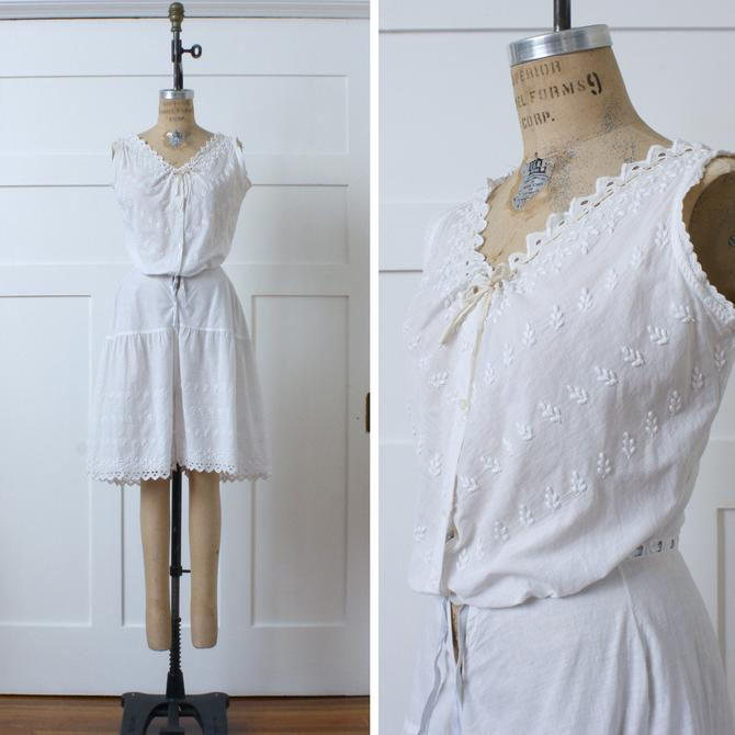 antique womens early 1900s bloomers • embroidered white cotton corset cover combination suit by LivingThreadsVintage
