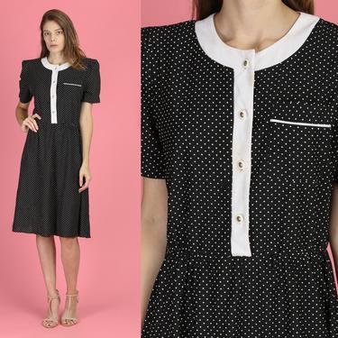 80s Black & White Polka Dot Dress - Large   Vintage Short Sleeve Knee Length Retro Dress by FlyingAppleVintage
