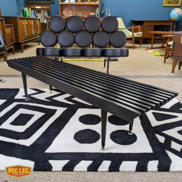Mid-Century Modern black lacquered slat coffee table