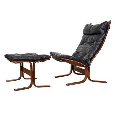 Westnofa Ingmar Relling Black Leather Tall Siesta Chair + Ottoman