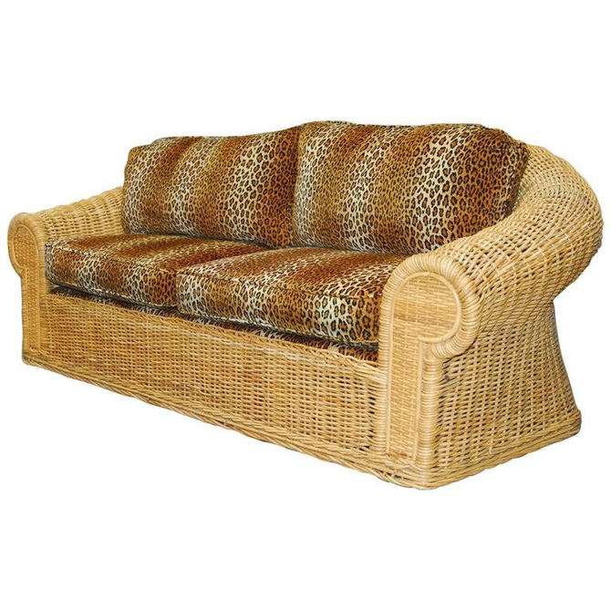 Michael Taylor Inspired Wicker Sofa with Scalamandre Style Leopard Upholstery by ErinLaneEstate