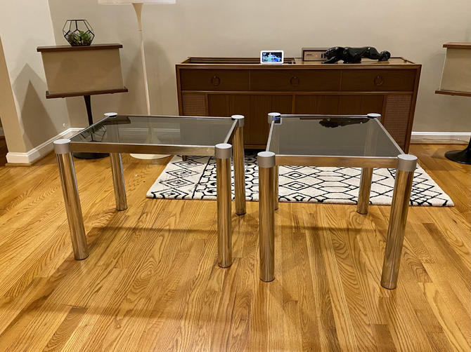 Vintage Milo Baughman Style Smoked Glass Chrome End Tables by MSGEngineering