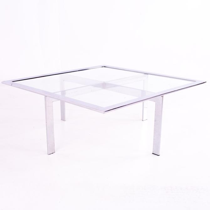 Mies Van Der Rohe Barcelona Style Mid Century Chrome and Glass Coffee Table - mcm by ModernHill