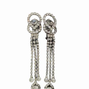 Rhinestone Danging Clip- on Earrings by InstantVintage78
