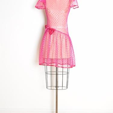 vintage 80s dress sheer lace mesh magenta pink bow metallic polka dot mini XS clothing by huncamuncavintage