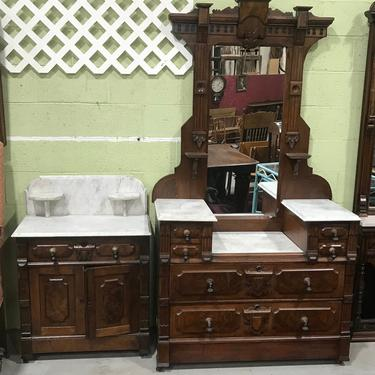 Black Walnut dropwell chest and matching washstand marble top by QuaboagValleyAntique