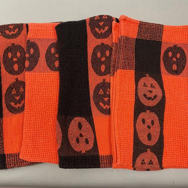 Vintage Fallani and Cohn Halloween Dish Towels (Lot of 4) Orange Black Jack O' Lanterns by sevenbc