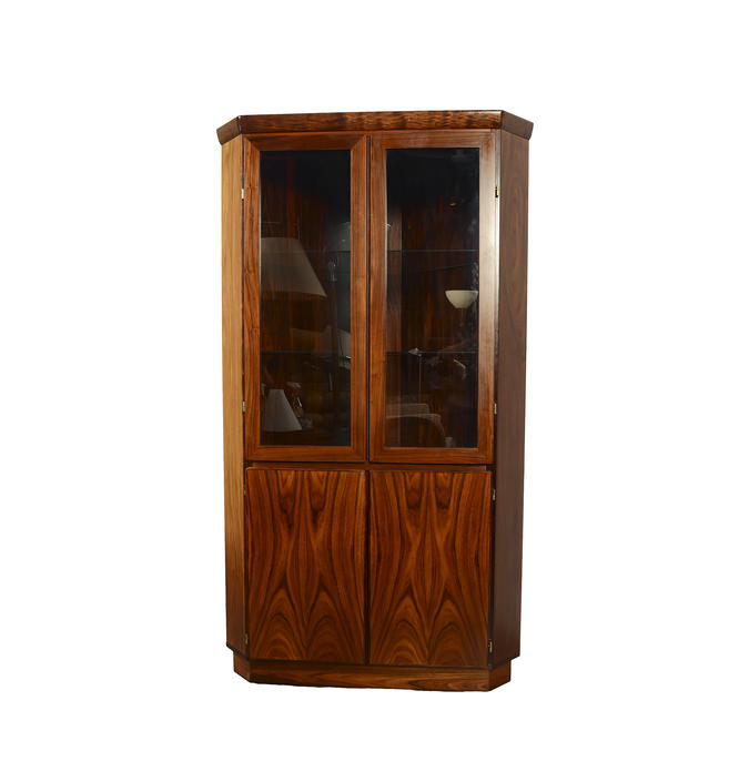 Rosewood Corner Cabinet Skovby Danish Modern Display Case by HearthsideHome