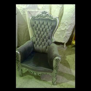 Silver Children Throne Chair Gray Velvet *2 LEFT* French Children Chair Throne Gray Velvet Tufted Silver Throne Chair Rococo Vintage Chair by SittinPrettyByMyleen