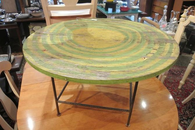 Green circles side / coffee table. $65